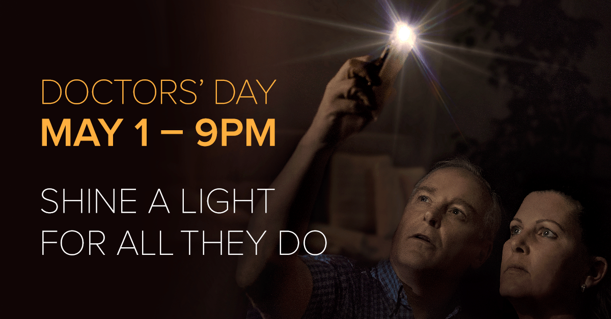 Ontarians asked to #ShineALightForThem May 1 in a province-wide show of appreciation on #DoctorsDay. ow.ly/kooT50zkozN #ONhealth