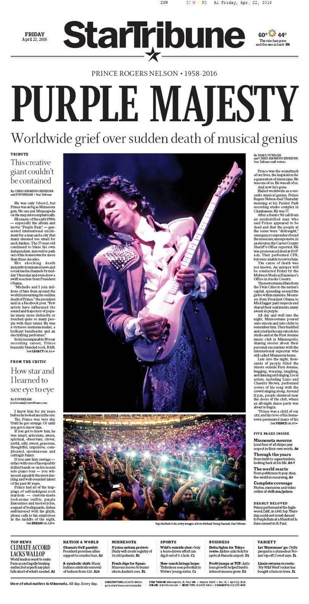 The @StarTribune front page I drew four years ago today after Prince's death.