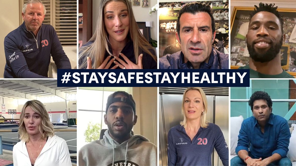 Throughout the Covid-19 pandemic sporting stars from across the world and #LaureusFamily have united with their powerful words of support and encouraging all of us to #StaySafeStayHealthy ❤️  From the UK to U.S. to Italy to India, we are all on the same team 🙏🌍 https://t.co/CfK4rm4nCs