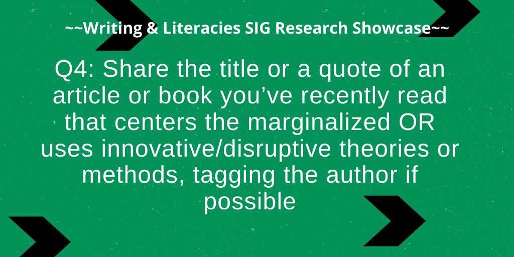 Q4: Share the title or a quote of an article or book you've recently read that centers the marginalized OR uses innovative/disruptive theories or methods, tagging the author if possible #literacies https://t.co/hQNSc2GBb0