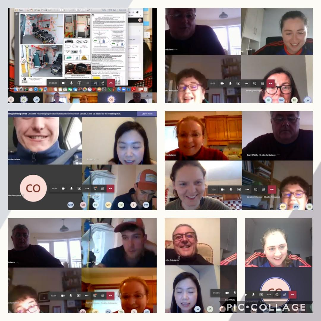 As we adjust to new ways of working, we were delighted to get back to regular Tuesday training sessions this evening - with a virtual meeting on Microsoft Teams! We covered Basic Virology, PPE donning & doffing, ambulance cleaning protocols &transport of Covid+ patients.@stjohnie https://t.co/IAdD4ZknQy