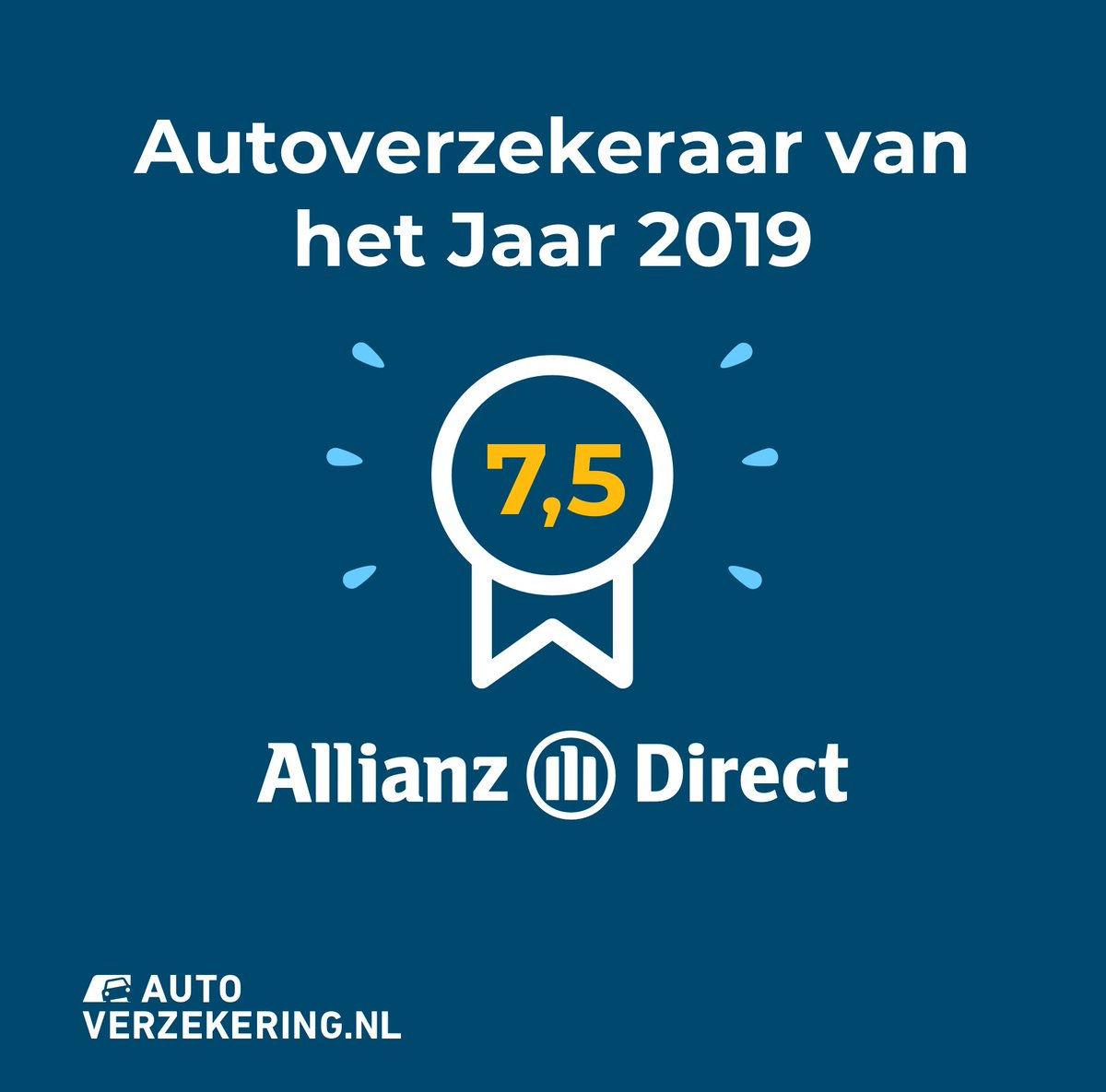 Trots! 👏🥳 Deze week werden we na onderzoek van @autoverzekernl uitgeroepen tot Autoverzekeraar van het Jaar 2019. 🚘 #AllianzDirect #Award  Hier lees je hoe we het er vanaf brachten 👉 https://t.co/P1wi2fpVrN https://t.co/HdTWMxTSYJ