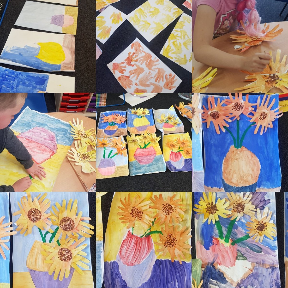 Van Gogh inspired sunflowers today at school 🌻🌻🌻 #keyworker #teach #artistinspired