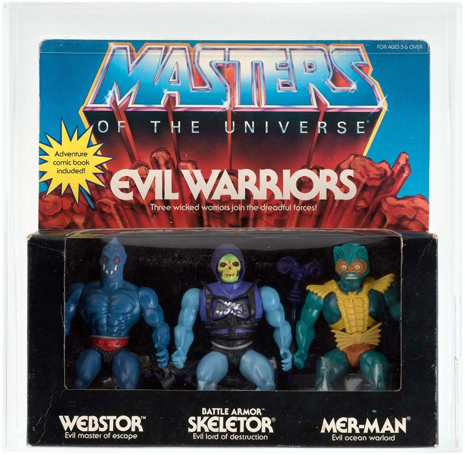 SOLD FOR $2,035! Heads up #80s kids! Did you see what this #AFA 80 NM @MastersOfficial #EvilWarriors 3-Pack featuring #Webstor #BattleArmorSkeletor & #MerMan sold for at @HakesAuctions? Contact Hake's today to sell yours! #Mattel #MastersOfTheUniverse #Skeletor #actionfigures