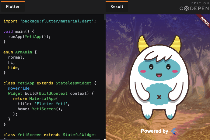 We worked with the awesome @FlutterDev team to build you a custom Flutter Pen editor. You can create Flutter Pens right on CodePen! Share your Pens using #FlutterPen Lots more to learn here -> blog.codepen.io/2020/04/15/flu…