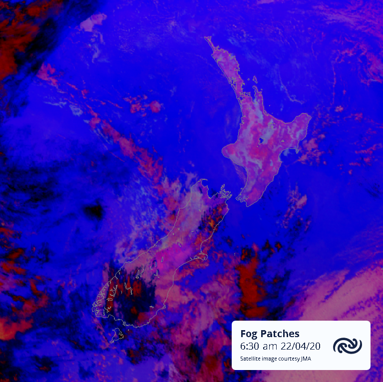 Fog patches over both islands on this Satellite image. From 36,000km above the earths surface, JMA's Himawari 8 can tell the difference between low cloud or fog (cyan) and land (magenta) in the dark. Fog burns off this morning. Full details at bit.ly/metservicenz ^AJ https://t.co/uioPQwVRMp