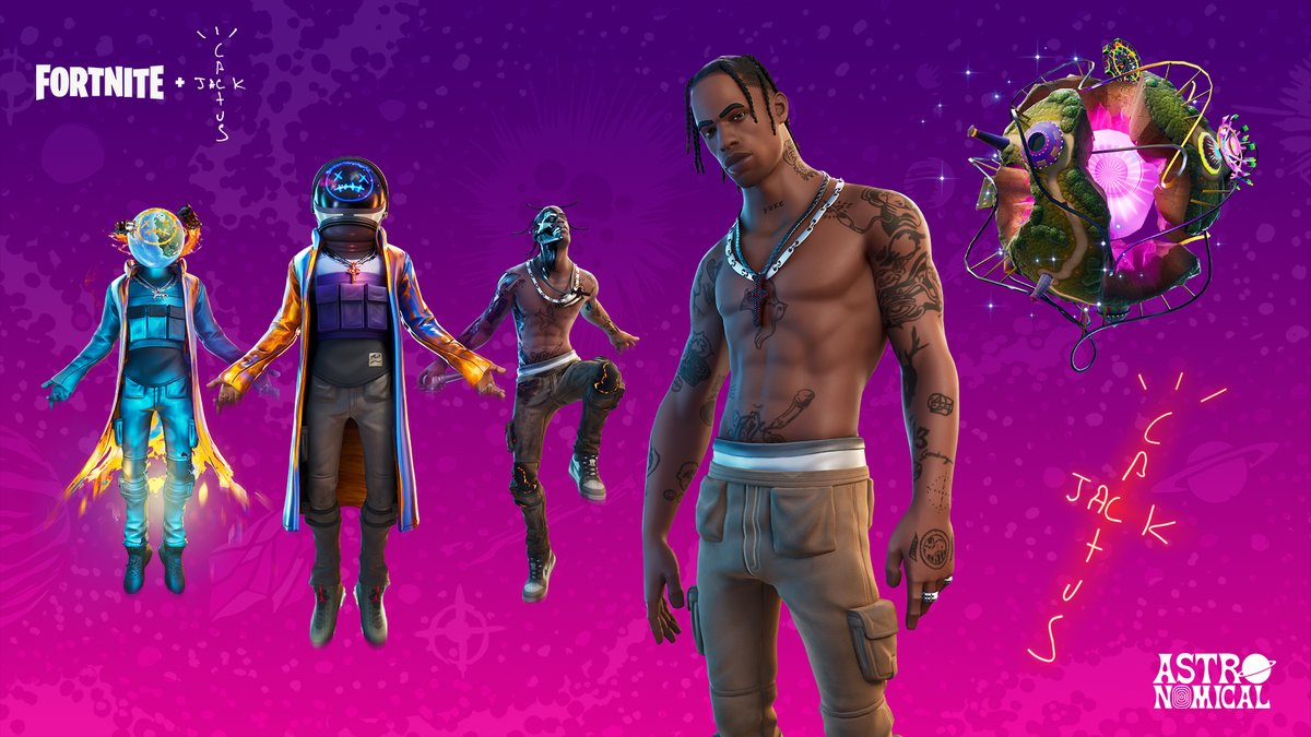 Fortnite On Twitter It S Lit Purchase The New Astronomical Bundle To Unlock The Travis Scott And Astro Jack Outfits And Their Styles With A Discount Of Up To 1000 V Bucks Off For status updates and service issues check out @fortnitestatus. travis scott and astro jack outfits