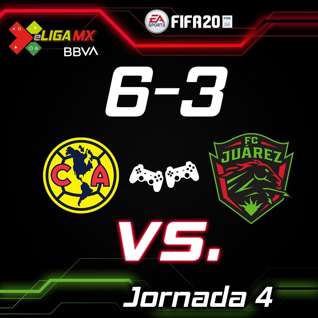 ¡DUELO DE REMONTADAS Y ESPECTÁCULO 🎮⚽🔥!  @ClubAmerica 6-3 @fcjuarezoficial  Gamers: #TeamBenedetti 🦅 vs #TeamRolan 🐎  #TuCasaTuCancha  #Desafío 🎮 #eLIGAMX https://t.co/Col38RYUST