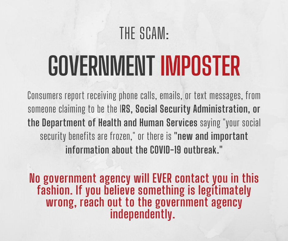 Stop Fraud Colorado On Twitter No One At The Irs The Social Security Administration Or Any Other Federal Or State Government Agency Will Ever Call Or Email You To Tell You There