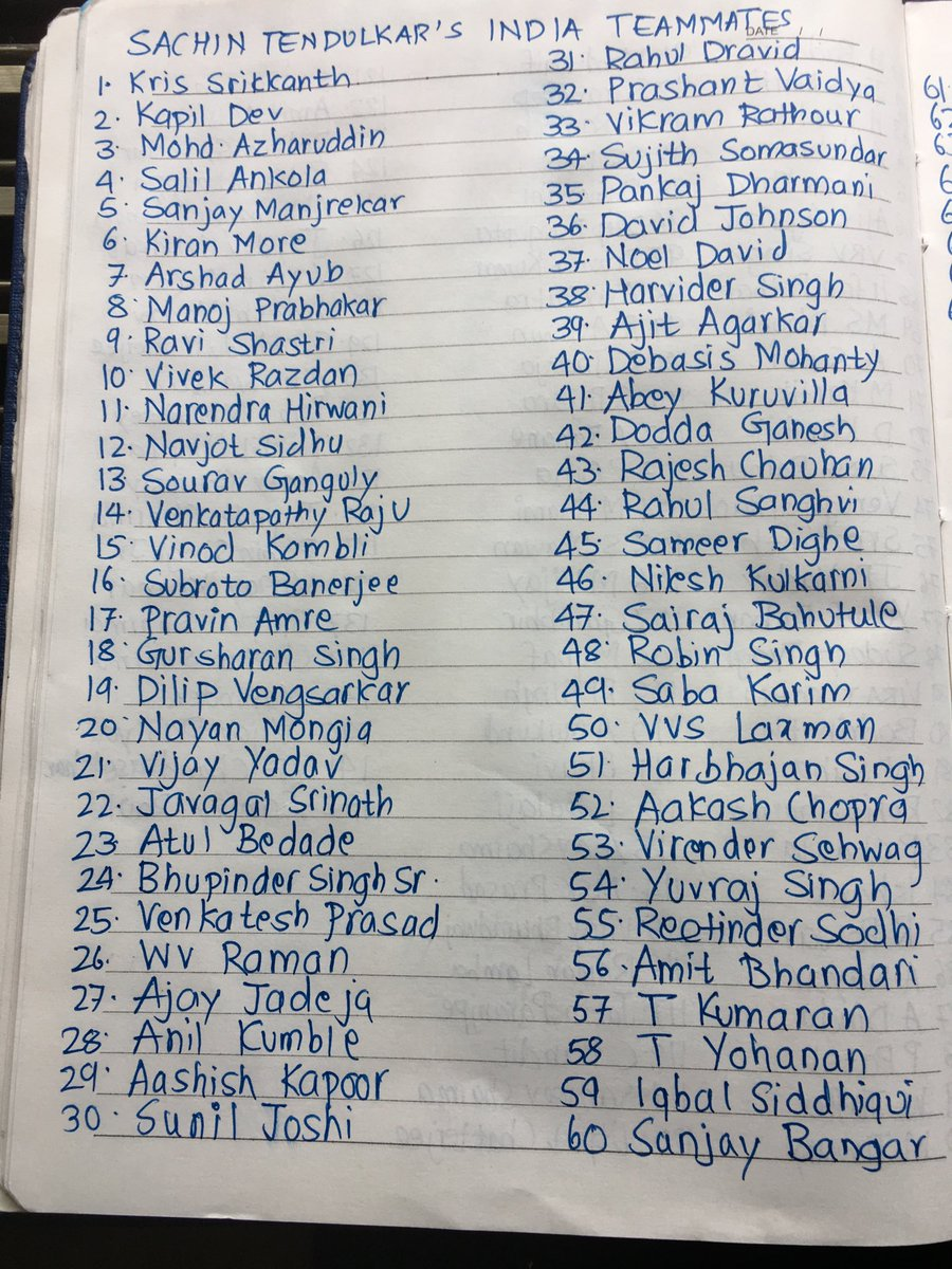 Sachin Tendulkar's 141 Indian teammates. Wrote all of this out of memory. 1-120 took around 10 minutes. 121-135 took another 15 minutes. The remaining six names took the most time.  ⁦@sachin_rt⁩ https://t.co/Q1n4lHsXSL