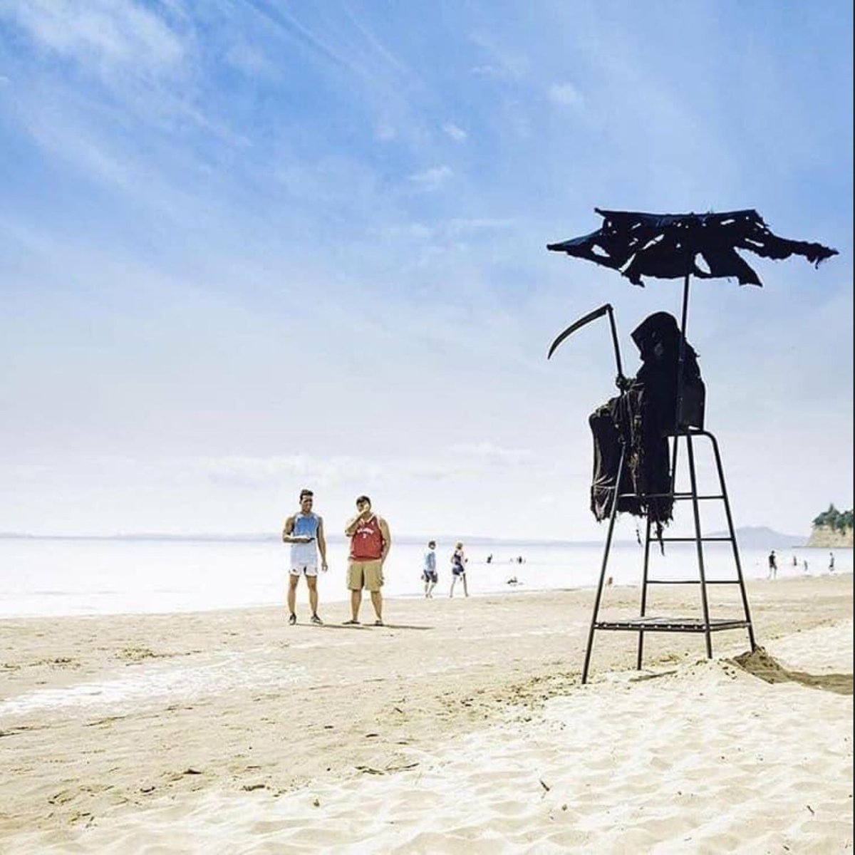 Attorney dressed as the Grim Reaper protests on Florida beaches