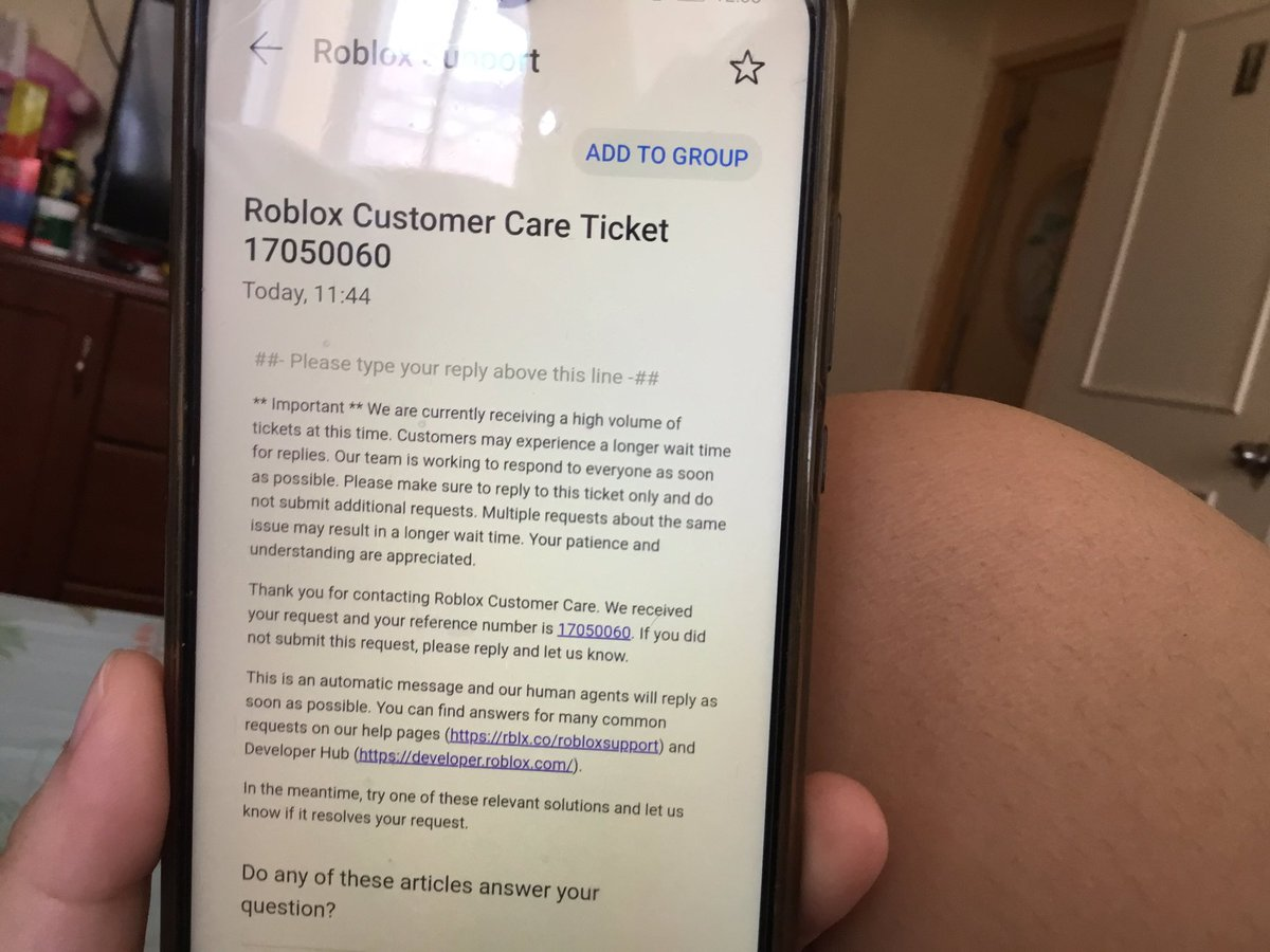 Roblox Customer Care Ticket Number