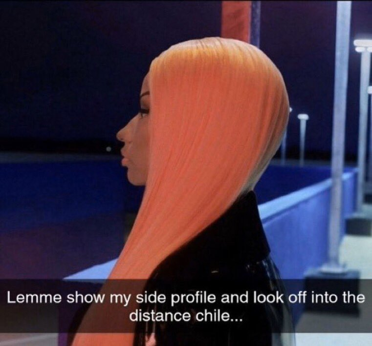 Reactions On Twitter Nicki Minaj Let Me Show My Side Profile And Look Off Into The Distance Chile