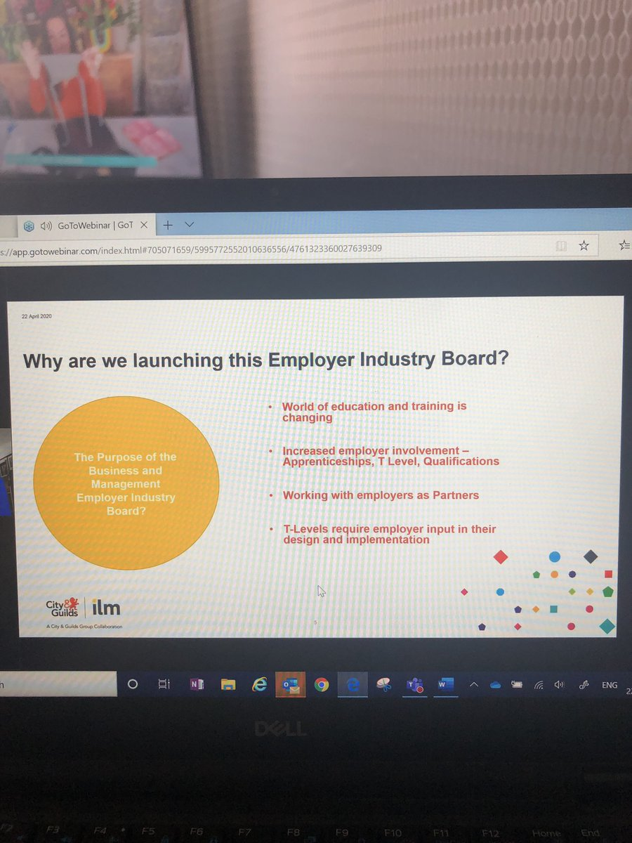 This mornings webinar with @cityandguilds @ILM_UK launching a #business #Management industry board with the aim to link #industry and #education to support the design and development of our #futureworkforce