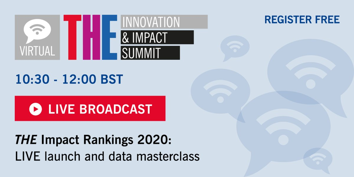 Join us for today's much-anticipated live launch of the #THEglobalimpact rankings. Register at bit.ly/2Kr1uAQ