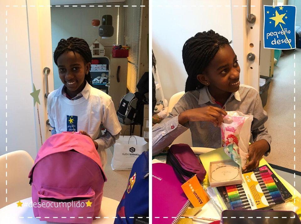 Keza es una niña muy estudiosa a la que le encanta hacer manualidades🎨El hada madrina fue a visitarla al hospi con una gran sorpresa...Una mochila preciosa y un montón de material para poder hacer manualidades super chulas ¡Qué ilusión!😍 Muchísimas gracias @Ryanair_ES 👏🌟