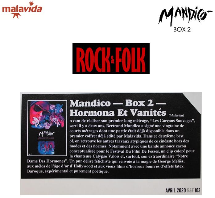 """#MandicoBox2 dans le numéro d'avril de @rock_and_folk  encore en kiosque !  """"On retrouve les autres travaux atypiques de #BertrandMandico cinéaste hors des modes et des normes (...) Et surtout son extraordinaire #NotreDameDesHormones. Baroque, expérimental & purement poétique"""" https://t.co/zEiWorLMkf"""