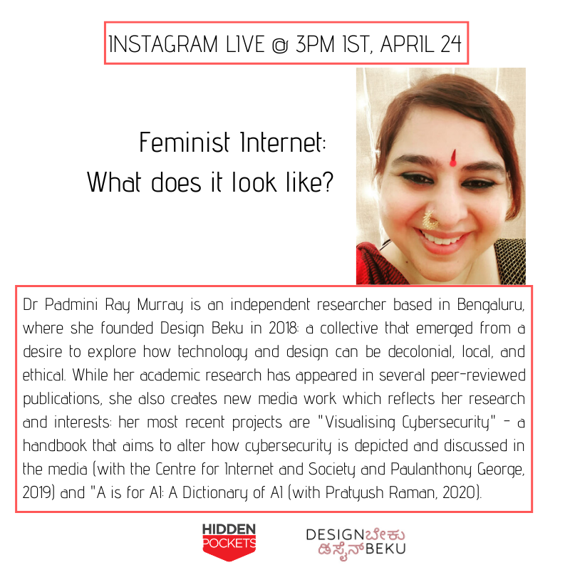 Wondering what is #FeministInternet?  Join our #InstagramLive tomorrow at 3 PM IST with @praymurray from @DesignBeku  #feminism #digitalspaces #Lockdown #livechats #informalconversations #fridayconversations #datafeminism https://t.co/sMLbKr33lC