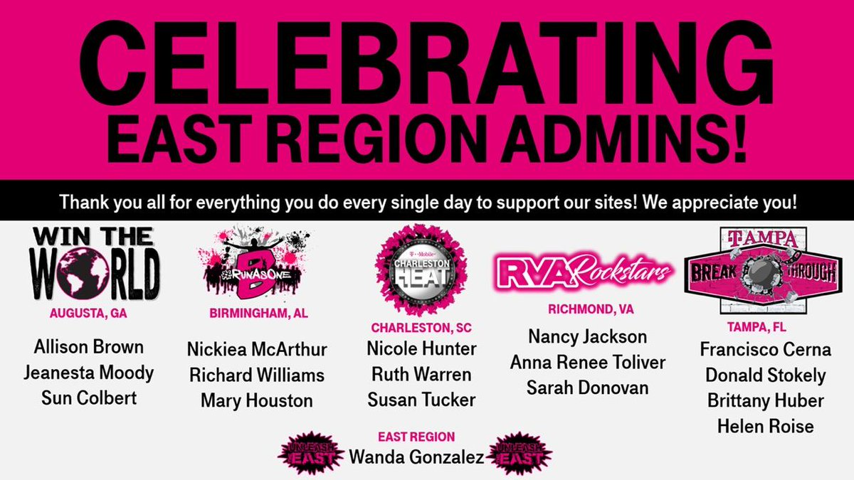 🎀We have a team of superheroes 🦸‍♀️ 🦸‍♂️ that provide support for everything we do. #EastRegion admin team, I cant thank you enough for all you do. Cheers 🥂 to you! Happy Admin Professionals Day! 🎊🎀 @TMobile