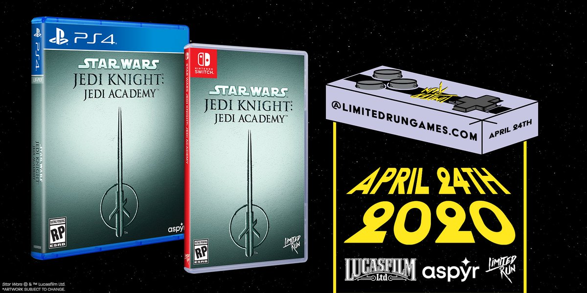 You could win a physical copy of Star Wars Jedi Knight: Jedi Academy! Follow @LimitedRunGames, @StarWarsGames & @AspyrMedia, then like and retweet to be entered. We will draw a winner today at 5:30pm ET. GLHF! https://t.co/9QHh3Y75rC