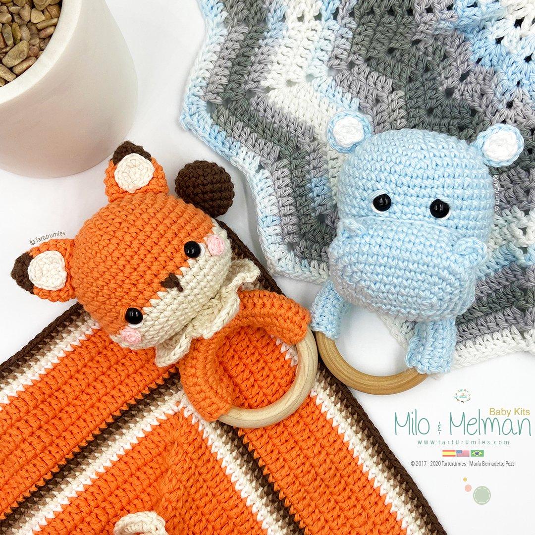 Amigurumi Pattern: The hippopotamus Melman and his friend Pi ... | 1080x1080