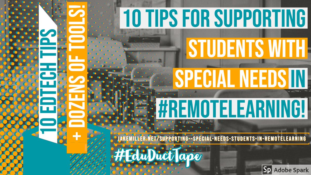 Been working on this post for DAYS and I'm so glad to finally share: 10 Tips for Supporting Students with Special Needs in #RemoteLearning!  📖Reading Tools 📹Video Tools 💻Built-in #AssistiveTech 💬More!  Thanks to the edu's whose ideas are part of this!  https://t.co/V1c8nvABXo https://t.co/pwgIiE6sbH