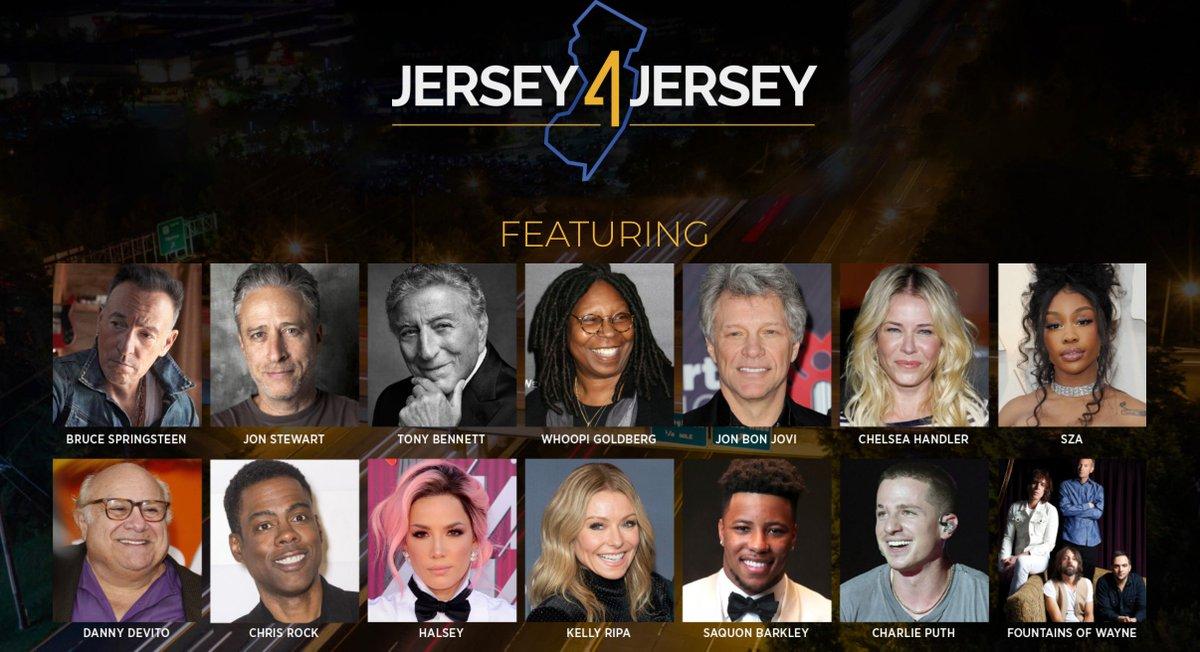 TONIGHT: #Jersey4Jersey will be broadcast live on your local TV stations & streamed online. Featuring: @springsteen, @jonbonjovi, @WhoopiGoldberg, @charlieputh, @sza, @DannyDeVito, @halsey, @chrisrock, @KellyRipa, @chelseahandler, @saquon, @itstonybennett, @fountainsofwayn. https://t.co/YAKMO9TUU4