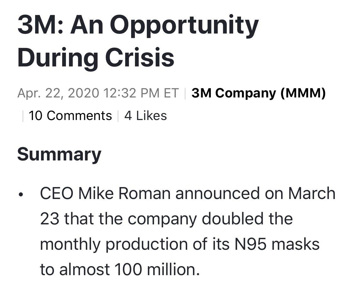 Η 3Μ ο κολοσσός, αδυνατεί να ανταπεξέλθει στην απότομη αύξηση ζήτηση για μάσκες και σεις απορείτε γιατί ως τώρα δεν πρότεινε μάσκες ο Τσιόδρας.. https://t.co/9PzMEPwbZd