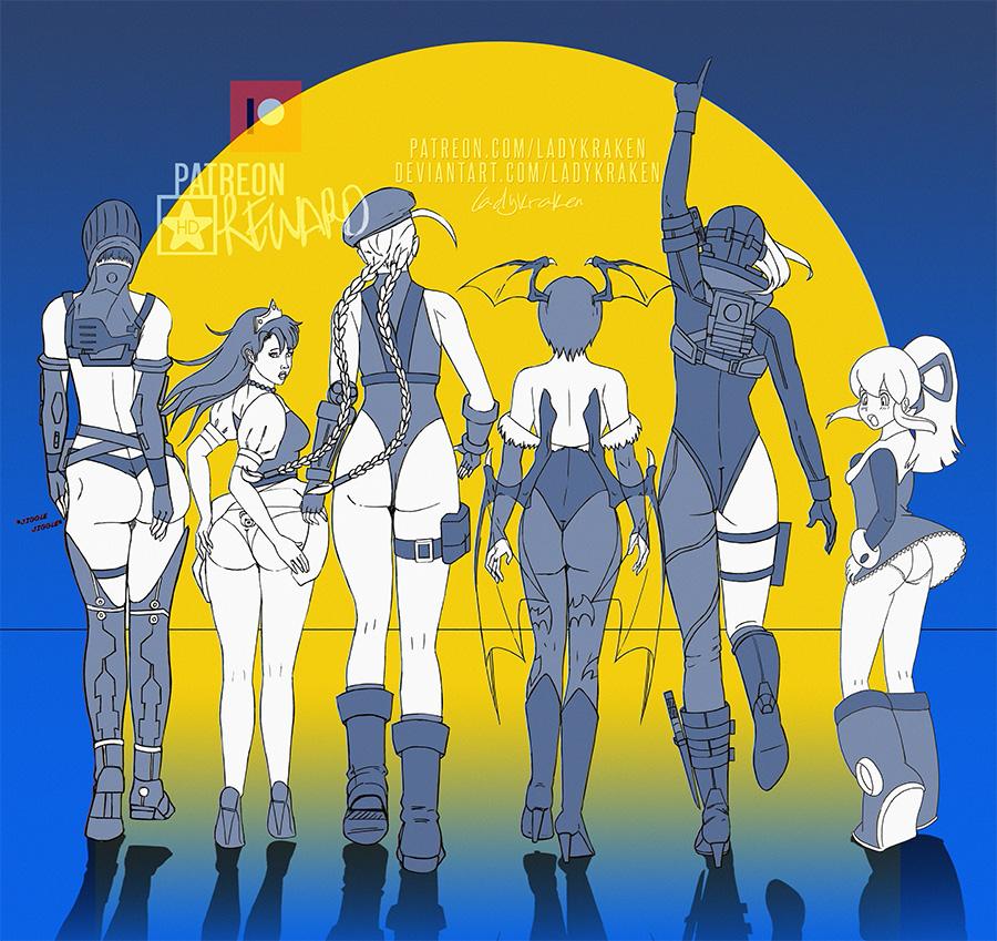 Capcom Walking Silhouettes - Commission -Deviantart:  -Patreon:   #fanart #ladykraken #kraken #art #digital #pinup #Vanessa #PN03 #PrinPrin #GhoulsnGhosts #Cammy #StreetFighter #Lilith #Darkstalkers #Jill #ResidentEvil #Roll #MegaMan