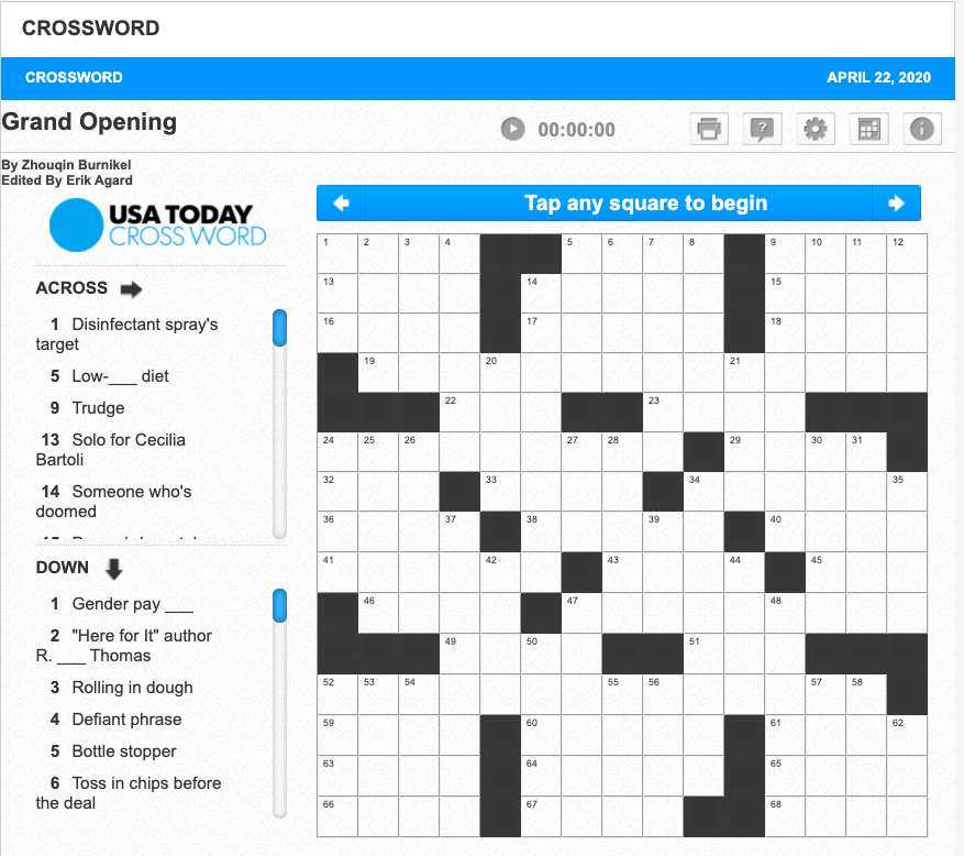 R Eric Thomas On Twitter I Did Not Know How Much I Wanted To Be A Crossword Puzzle Clue Until I Show Up As 2 Down On The Usa Today Crossword Today Https T Co Msrftginud