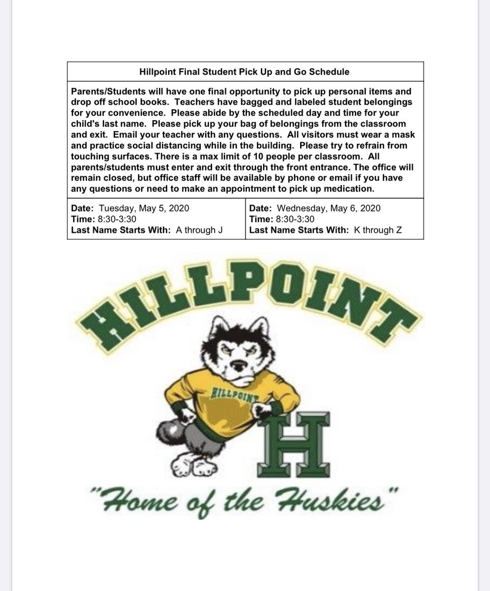 New information for Hillpoint Families! This flyer will also be posted on our website, Peachjar, & Remind! #hesteach