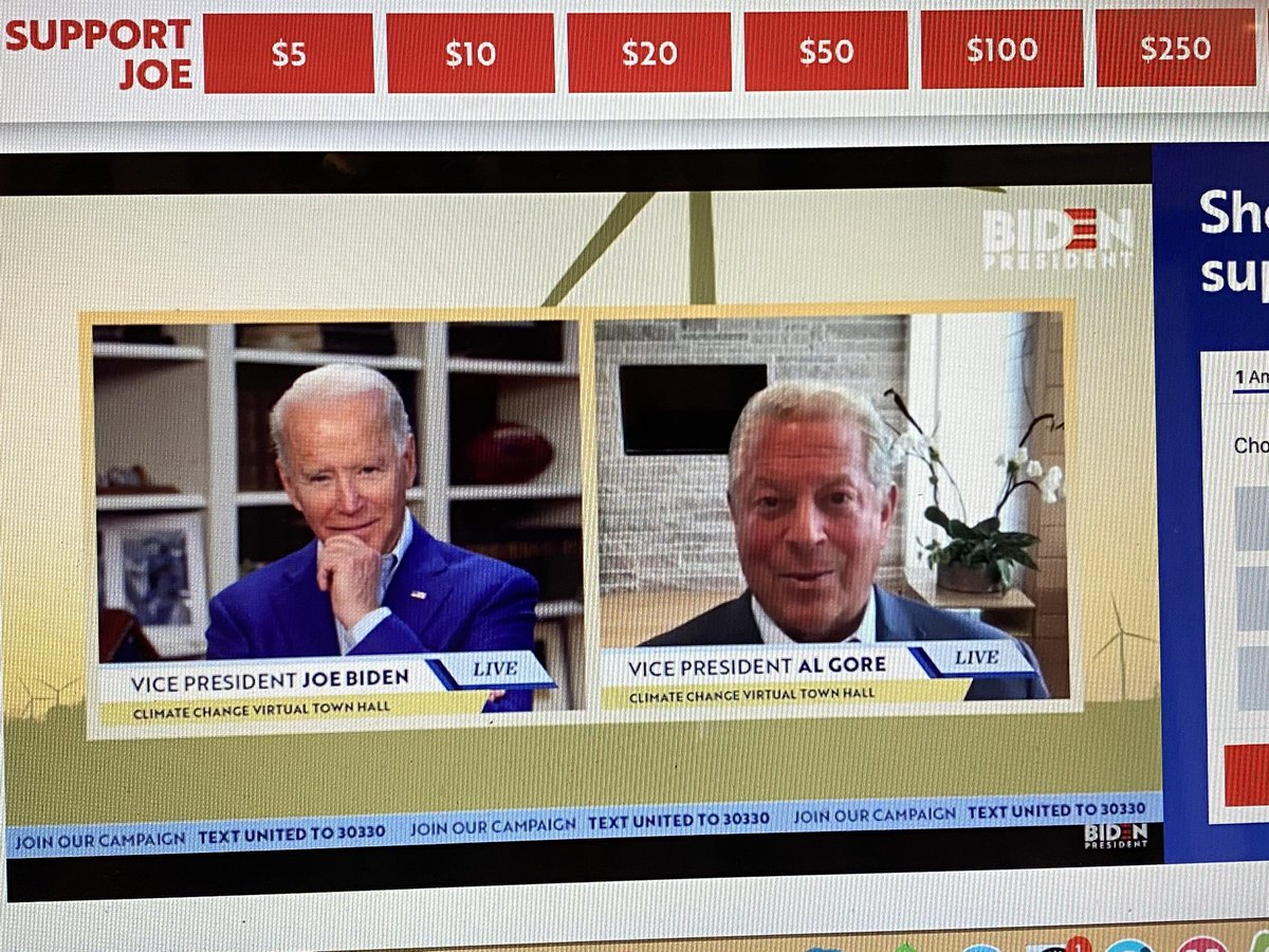Two former veeps talking climate change on Earth Day. @algore endorsed @JoeBiden earlier today.