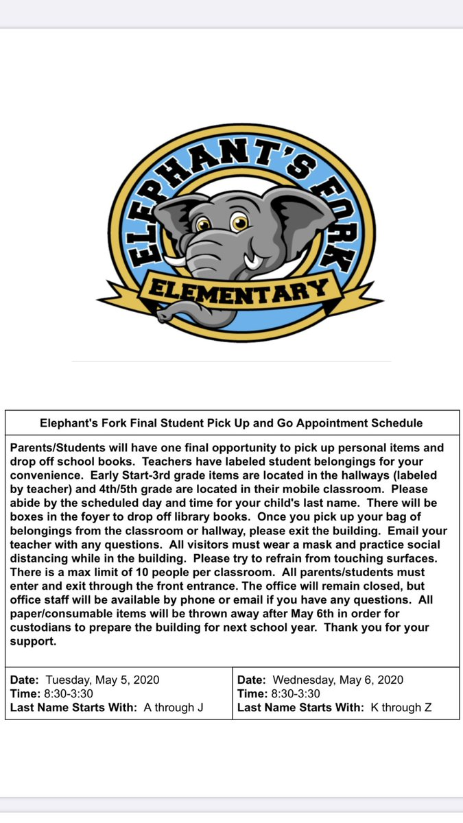EFES families, please see attached FINAL pick up and go appointment schedule. #EFESProud #SPSK12proud