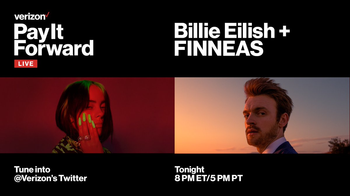 Watch Billie and @FINNEAS perform on Verizon's #PayItForwardLIVE Earth Day edition stream to support America's small businesses doing their part to save the earth. Tune in tonight at 8pm ET/5pm PT on @Verizon's Twitter page. https://t.co/c09kqMcd8T