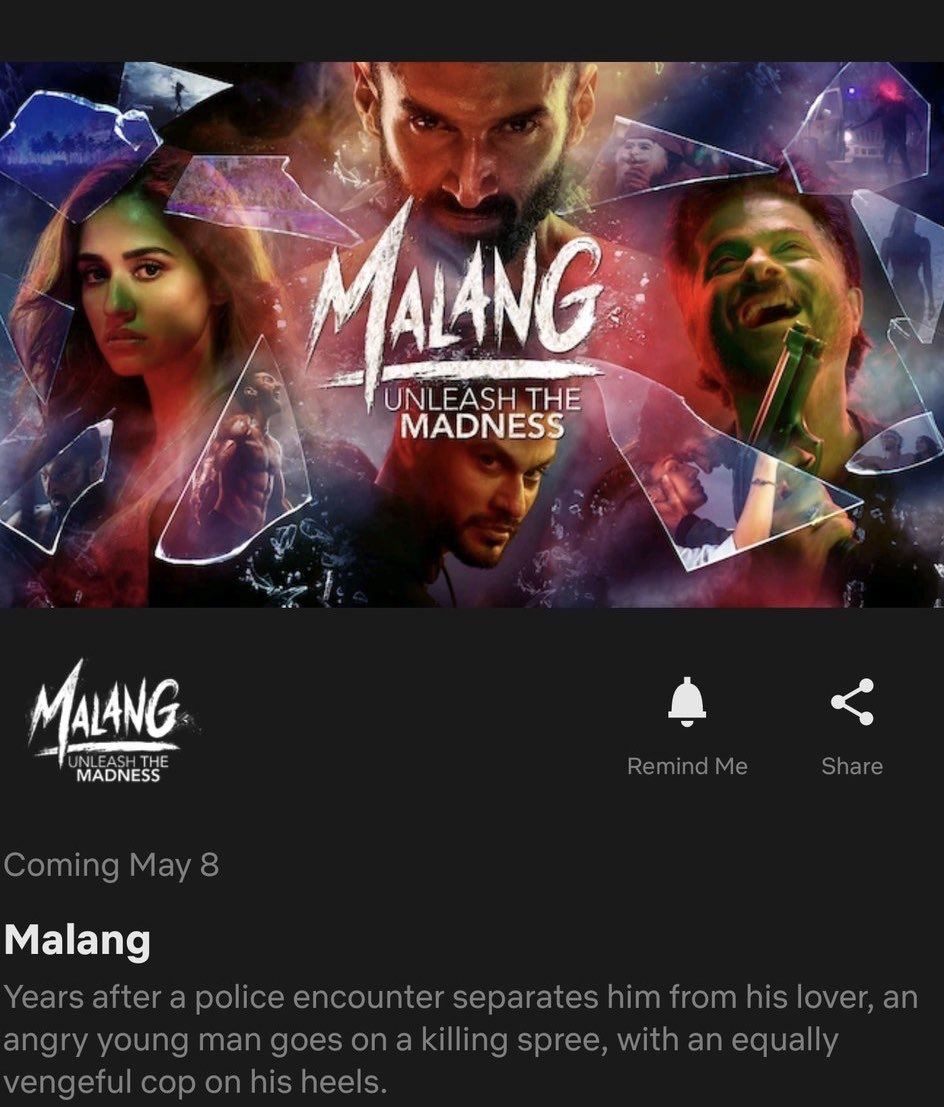 Christopher Kanagaraj On Twitter Hindi Movie Malang Will Be Streaming From May 8 In Netflix
