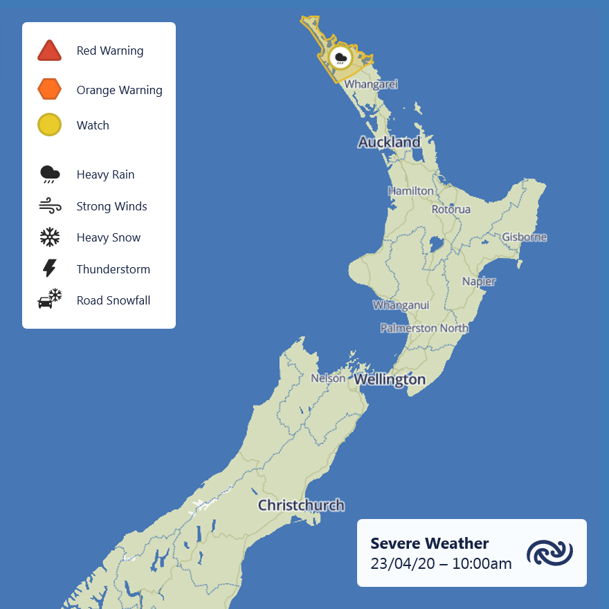 A Heavy Rain Watch has been issued for northern parts of Northland from this afternoon. TS are possible there too. Full details at bit.ly/SWWatch and bit.ly/TSoutlook^AJ https://t.co/09CIqwt8TK