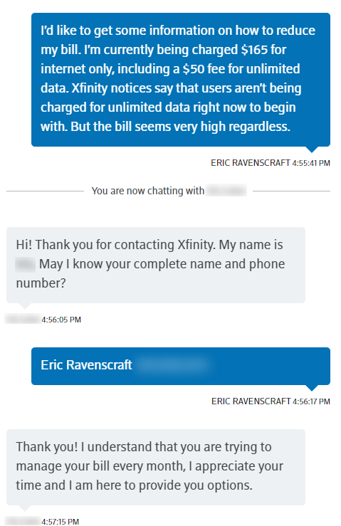 Comcast On Twitter Hi Eric Thanks For The Detailed Feedback About Your Experience We Sent Out An Email On March 25 Notifying Customers Who Have The 50 Unlimited Option That They D See