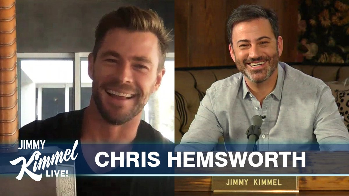.@ChrisHemsworth on quarantine in Australia, homeschooling his kids and he shows off his #Thor props... #JimmyKimmelLiveFromHisHouse #StayHome