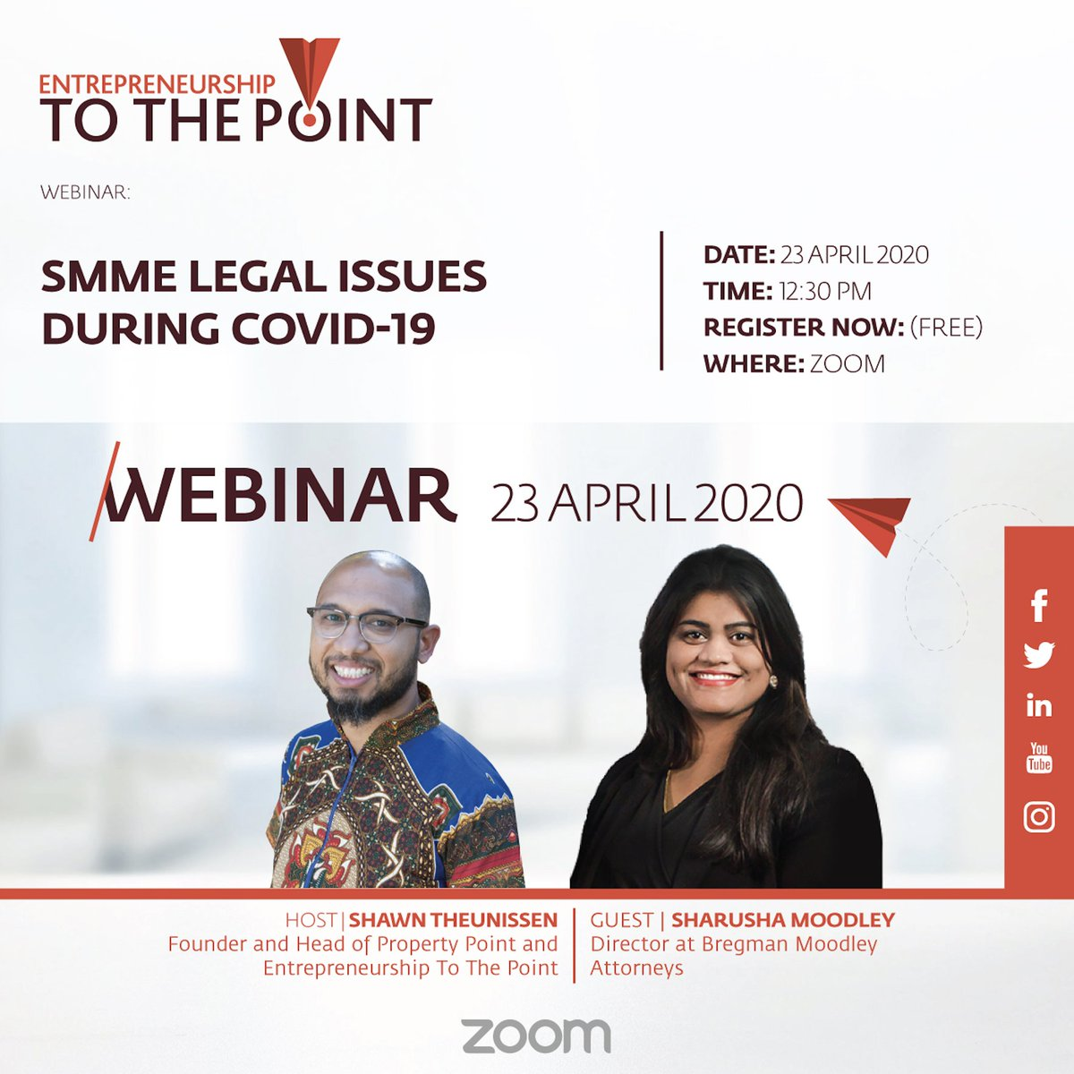 Are you battling with questions around legal issues during this COVID-19 lockdown period? Join @eToThePoint at 12:30 today for an interactive session on legal issues facing SMME's during this time register via this link https://t.co/wYDVTcpP84 https://t.co/FpoJB66YCb
