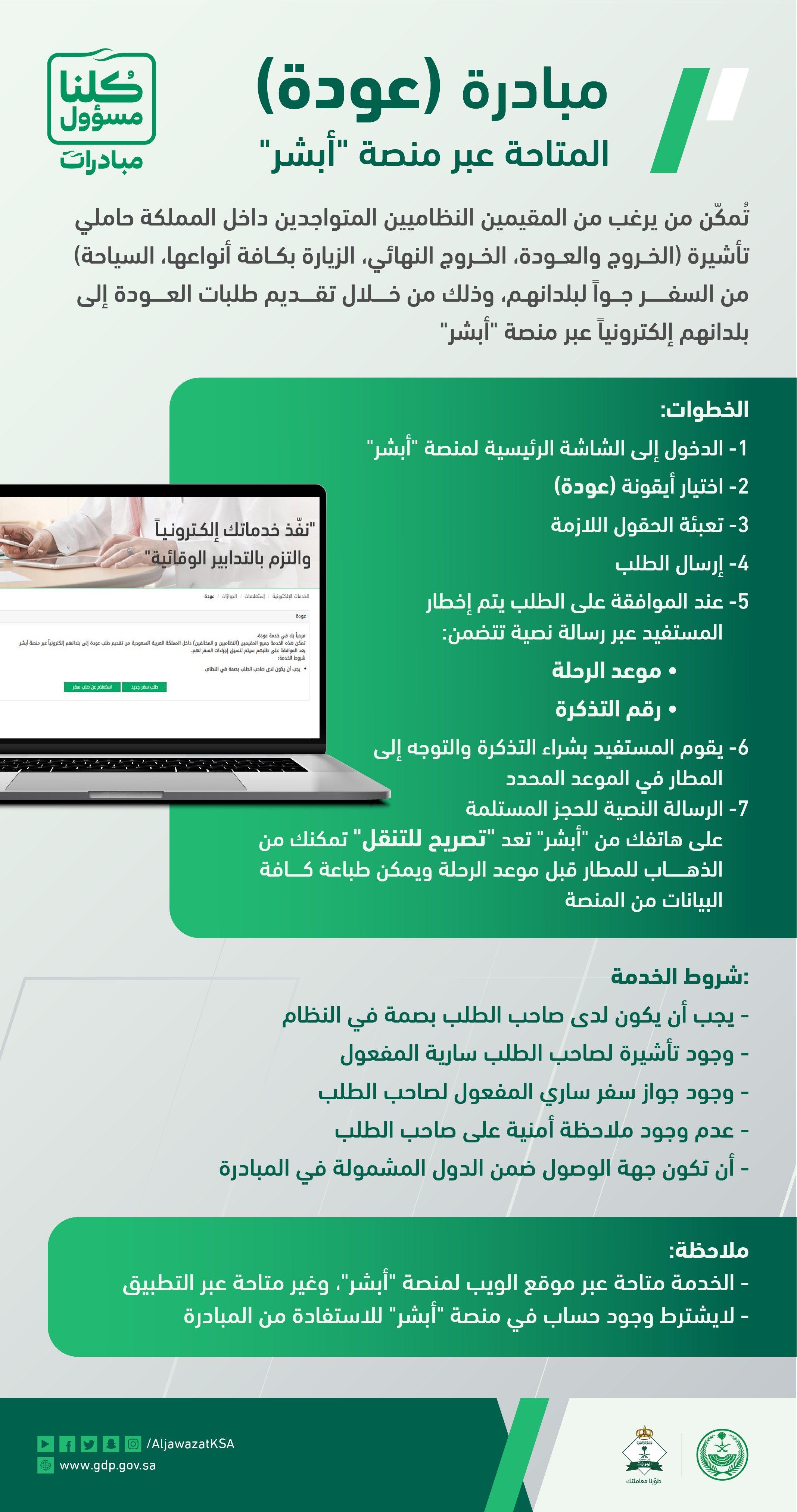 الجوازات السعودية توضح شروط تسجيل الوافدين للعودة لبلدانهم معلومات مباشر