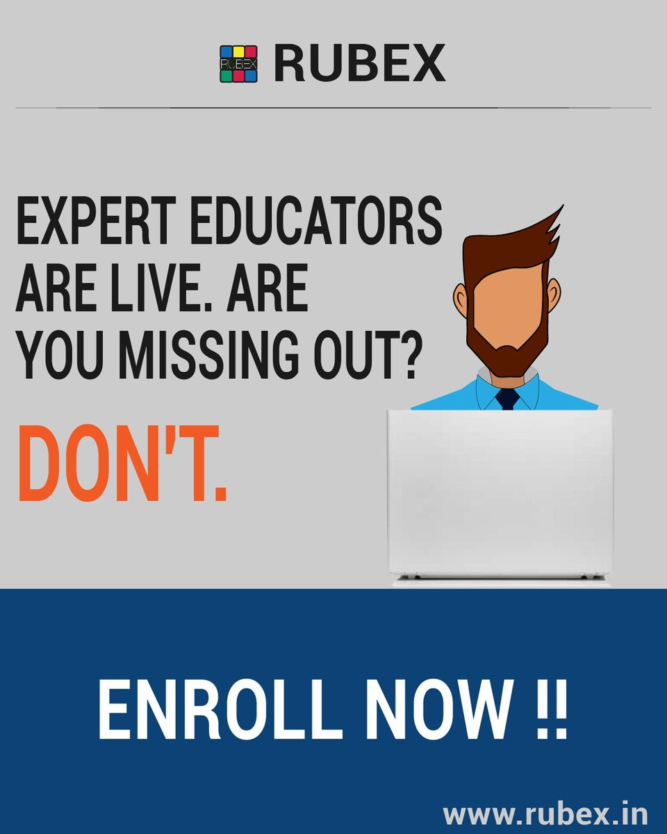 Surprise !!!!!!!!!!!!!!  We are Going Live with Our Experts! #enrollnow #EducationNeverDies #DailyBriefing #expertforanexpert  #Joinnow #studentvoice   Sign up at - https://buff.ly/3asi2mI          Or  Simply Visit- http://www.rubex.in pic.twitter.com/LXCdTF5dYG