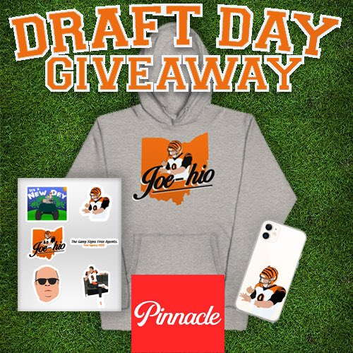 To push this Draft Day spirit even higher we are giving a HUGE gift to one lucky Bengals fan!   The Joe-hio hoodie, EVERY sticker we have and a Burrow phone case!   You must RETWEET and FOLLOW for a chance to win! Giveaway ends tonight at midnight!   #WhoDey #NFLDraft https://t.co/hE40khvoRm