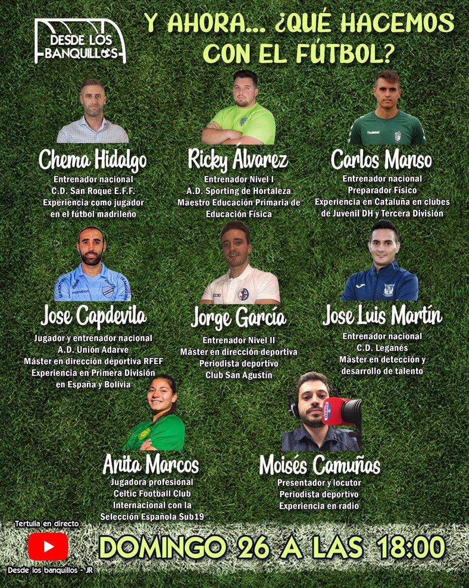 El domingo a las 18:00 @Ricky_Corleone y yo inauguramos canal con un debate sobre el futuro del fútbol.  Contaremos con un equipazo: @47Moi  @chemahidalgo6 @CarlesManso @jlmartinsaez @capdepower   Además, acabaremos entrevistando a la futbolista del @CelticFCWomen @anitamarcos09 https://t.co/vIvV0NHIk4