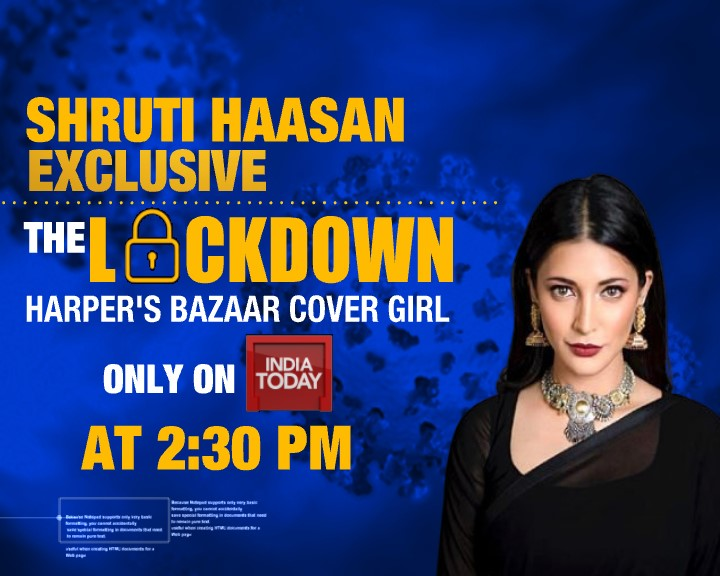 Watch @shrutihaasan speak #exclusively to India Today about Harper's Bazaar India's first digital issue, being a cover girl and life in #lockdown  Watch the show on Friday, April 24 at 2:30 PM https://t.co/vIcD61x3HQ