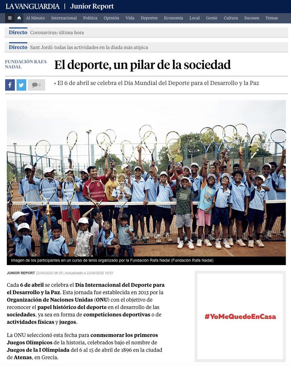 'El #deporte, un pilar de la sociedad', y un derecho fundamental para todos 🤸♂️ Interesante artículo de @JuniorReport_  en colaboración con #FundaciónRafaNadal ➡️https://t.co/ruCbfB9bEb https://t.co/jfeD2HOypM