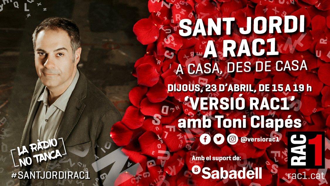 A RAC1... Sant Jordi des de casa  #SantJordiRAC1 https://t.co/XtRbXyNWu8