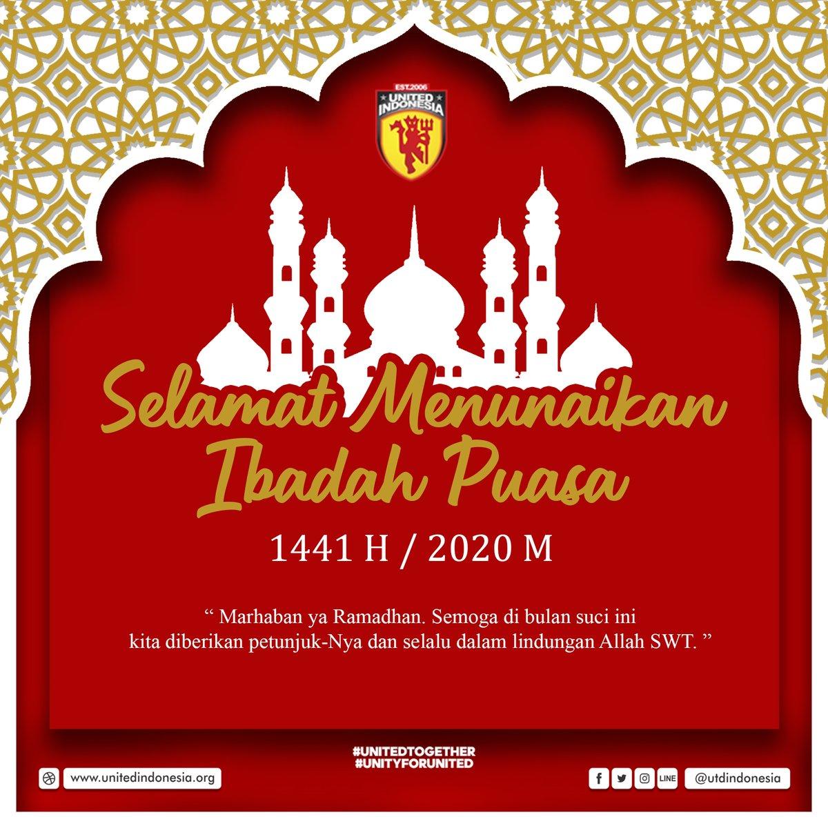 Selamat Menunaikan Ibadah Puasa Ramadhan 1441 H untuk semua umat Muslim  Jadikan Ramadhan kali ini sebagai ujian untuk memperkuat iman dan ketakwaan kita. Menjaga silaturrahmi, meski tak berjumpa. Saling menolong dan saling membantu.  #Ramadhan  #UtdIndonesia #UnitedTogether https://t.co/WCAj3yekoA