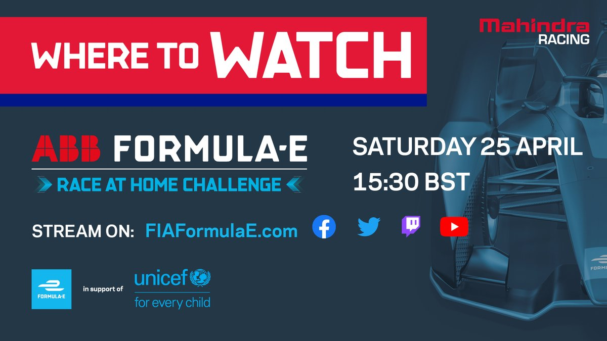 It's nearly time for @PWehrlein and @thereal_JDA to hit the (virtual) track for round one of the @FIAFormulaE Race at Home Challenge! We'll be racing for eight weeks from Saturday. Find out how to watch all of the action here 👀  #RaceAtHome #FormulaE https://t.co/seju0EyGiH