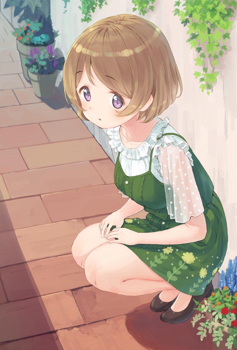 しゃがんでる花陽ちゃん スクフェスの覚醒前の服ですが 可愛くて好きです エイチスのイラスト