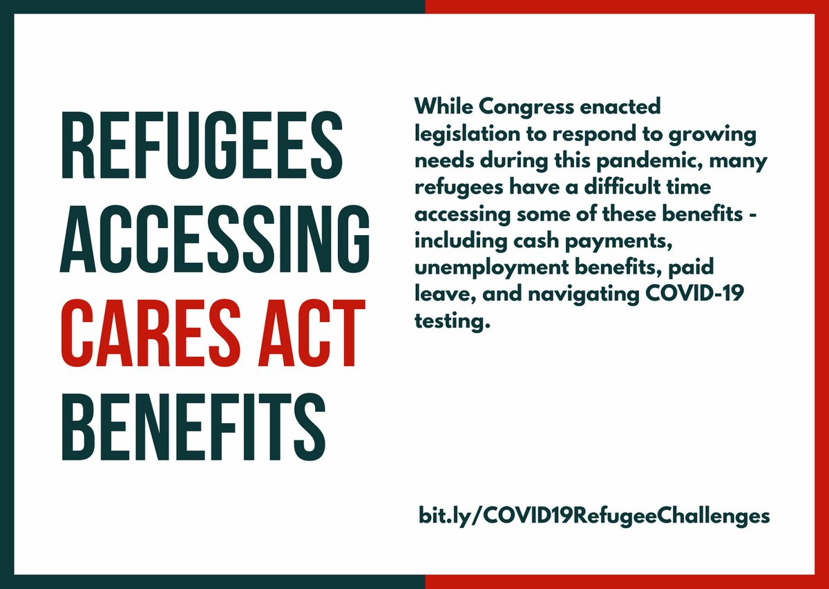While many of the benefits outlined in the CARES Act are technically available to refugees and asylees, there are still significant hurdles to their being able to actually obtain them. Visit https://t.co/RDKMWt6G6z to learn more. https://t.co/3BcgrofPTU